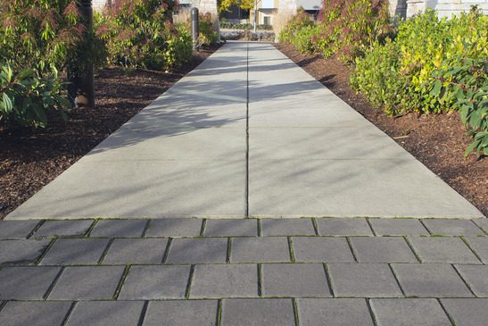 A concrete and brick walkway sidelined by woodchips and shrubs. Part of a commercial landscape design.